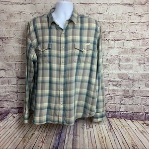 Lucky Brand Blue Plaid Western Snap Front Shiry
